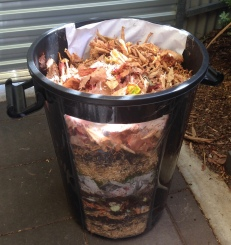 The beautiful layered compost pile made during the workshop.